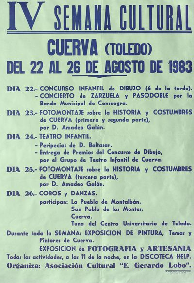 Semana Cultural [ [Material gráfico]: Cuerva (Toledo), del 22 al 26 de agosto de 1983 : [programación].