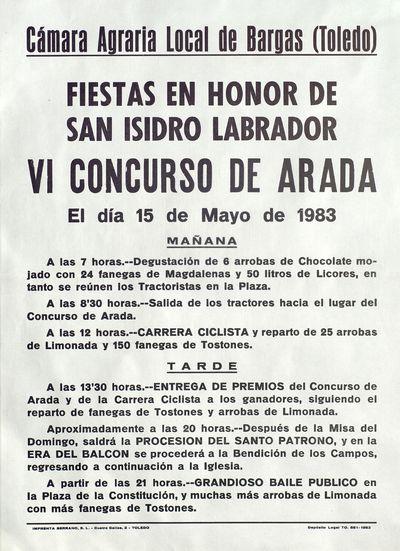 Fiestas en honor de San Isidro Labrador [ [Material gráfico]: VI Concurso de arada : 15 de mayo de 1983.