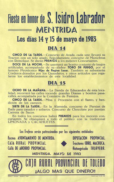 Fiesta en honor de S. Isidro Labrador [ [Material gráfico]: Méntrida, los días 14 y 15 de mayo : [programación].