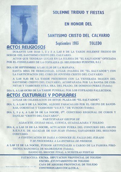 Solemne Triduo en honor del Santísimo Cristo del Calvario [ [Material gráfico]: septiembre 1983, Toledo : [programación].