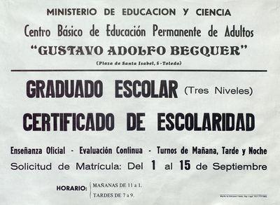 Graduado escolar (tres niveles), Certificado de Escolaridad [ [Material gráfico]: solicitud de matrícula del 1 al 15 de septiembre.