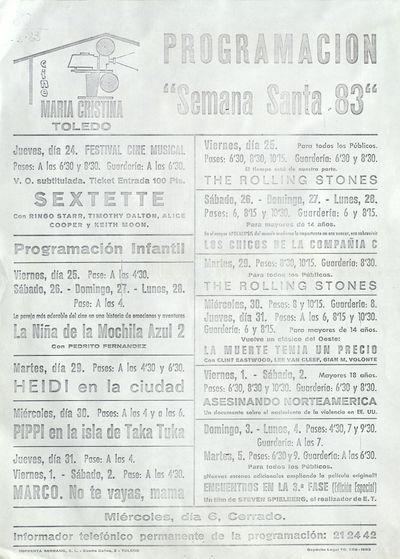 Cine María Cristina, Toledo [ [Material gráfico]: programación Semana Santa 83 : jueves, día 24 a martes 5.