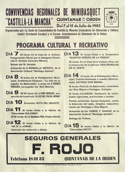 Convivencias regionales de minibasquet Castilla-La Mancha [ [Material gráfico]: Quintanar de la Orden, del 7 al 15 de julio de 1983.