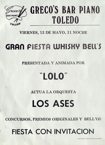 Gran fiesta whisky Bell's [ [Material gráfico]: Greco's Bar Piano, Toledo, 13 de mayo.