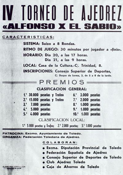 IV Torneo de Ajedrez Alfonso X El Sabio [ [Material gráfico].]