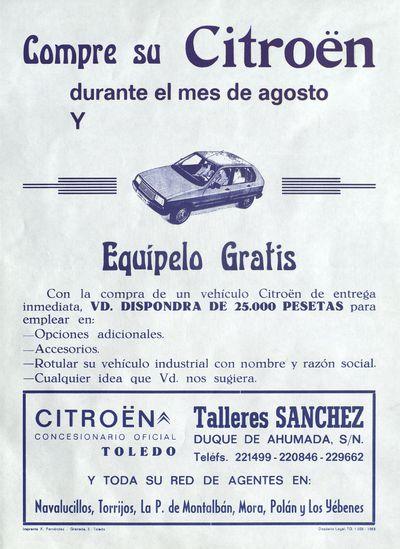 Compre su Citroën durante el mes de agosto y equípelo gratis [ [Material gráfico]: Talleres Sánchez, Toledo.