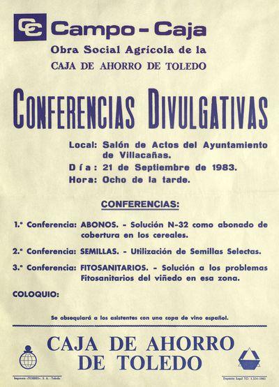Campo-Caja, Obra social agrícola de la Caja de Ahorro de Toledo [ [Material gráfico]: Conferencias divulgativas, Salón de actos del Ayuntamiento de Villacañas, 21 de septiembre de 1983.