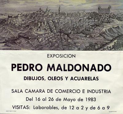 Pedro Maldonado [ [Material gráfico]: dibujos, óleos y acuarelas : Sala Cámara de Comercio e Industria, del 16 al 26 de mayo de 1983.