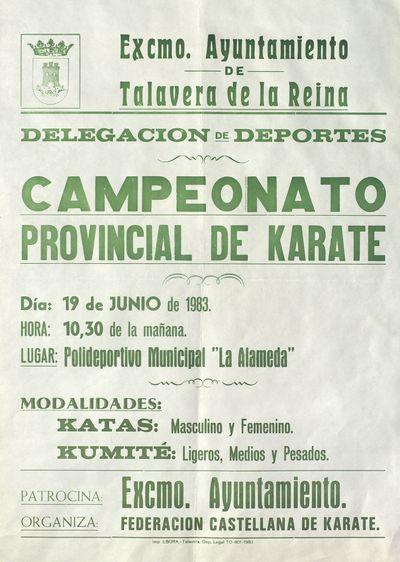 Campeonato provincial de karate [ [Material gráfico]: 19 de junio de 1983, Polideportivo municipal La Alameda.