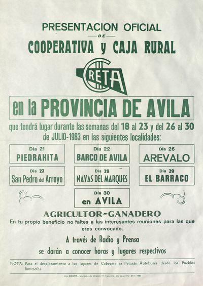Presentación oficial de Cooperativa Creta y Cajar Rural en la provincia de Ávila [ [Material gráfico]: julio de 1983 : [programación].