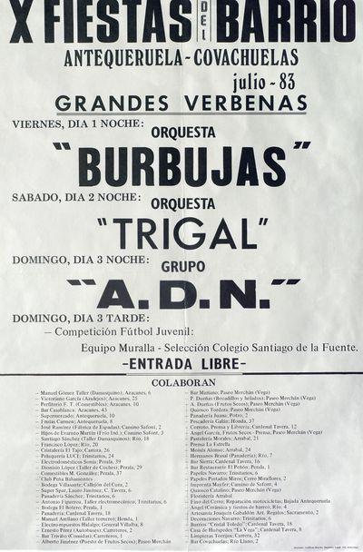 Fiestas del barrio [ [Material gráfico]: Antequeruela y Covachuelas julio-83, grandes verbenas : [programación].