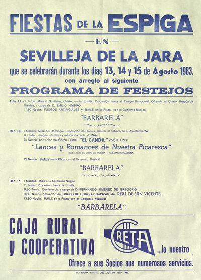 Fiestas de la Espiga en Sevilleja de la Jara [ [Material gráfico]: días 13, 14 y 15 de agosto 1983 : [programación].