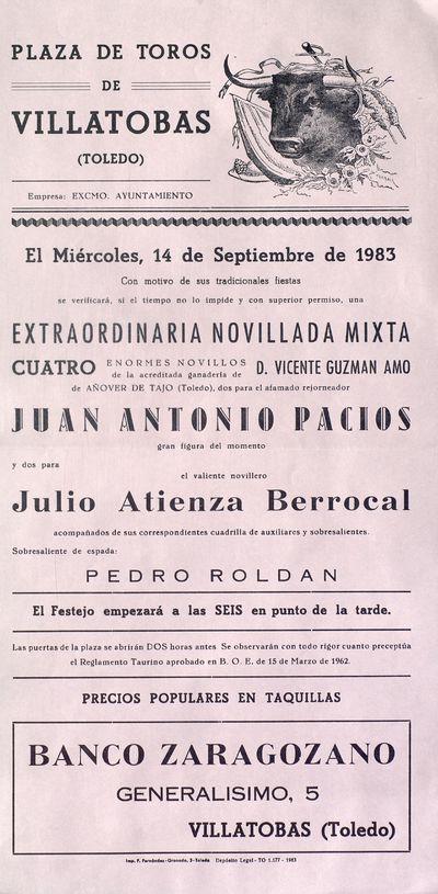 Plaza de Toros de Villatobas (Toledo) [ [Material gráfico]: extraordinaria novillada mixta, 14 de septiembre de 1983.