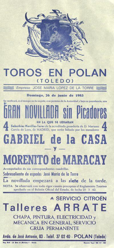 Plaza de toros de Polán (Toledo) [ [Material gráfico]: Gran novillada sin picadores : domingo, 26 de octubre de 1983.