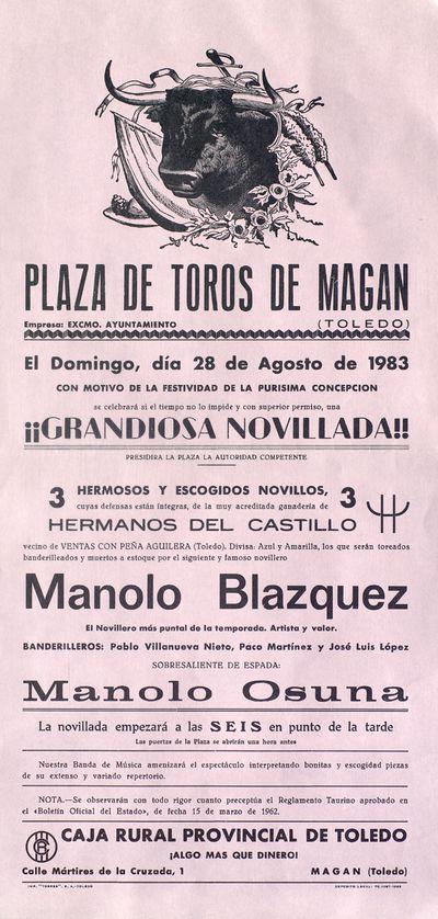 Plaza de toros de Magán (Toledo) [ [Material gráfico]: grandiosa novillada : domingo, 28 de agosto de 1983, con motivo de la festividad de la Purísima Concecpción.
