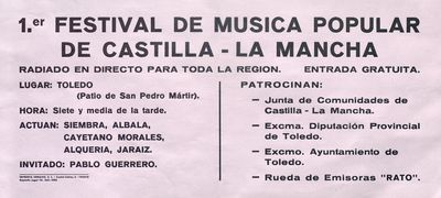 1er. Festival de música popular de Castilla-La Mancha [ [Material gráfico]: Toledo.