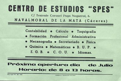 Centro de estudios Spes [ [Material gráfico]: Navalmoral de la Mata (Cáceres).