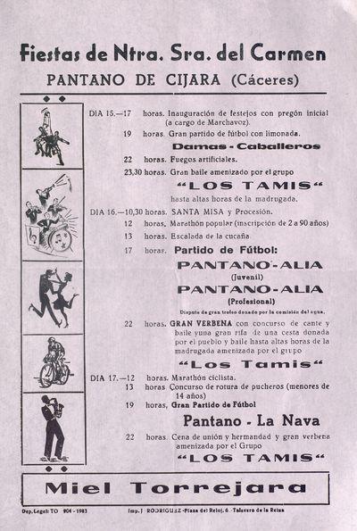 Fiestas de Ntra. Sra. del Carmen [ [Material gráfico]: Pantano de Cijara (Cáceres) : [programación].