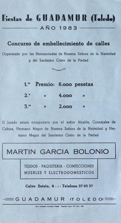 Fiestas de Guadamur (Toledo) [ [Material gráfico]: Año 1983 : concurso de embellecimiento de calles.