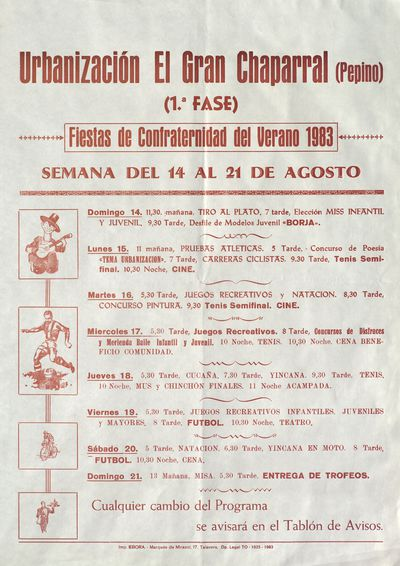 Fiestas de Confraternidad del verano 1983 [ [Material gráfico]: Urbanización El Gran Chaparral (Pepino) (1ª Fase), del 14 al 21 de agosto.