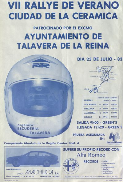 VII Rallye de verano ciudad de la cerámica [ [Material gráfico]: 25 de julio 83.