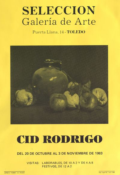 Cid Rodrigo [ [Material gráfico]: Selección, galería de arte, del 20 de octubre al 3 de noviembre de 1983.