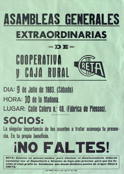 Asambleas Generales Extraordinarias de Cooperativa Creta y Caja Rural [ [Material gráfico]:¡No faltes! : 9 de julio de 1983.