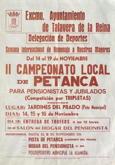 II Campeonato local de petanca para pensionistas y jubilados [ [Material gráfico]: Jardines del Prado, 14,15 y 16 de noviembre.