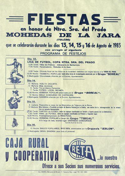 Fiestas en honor de Ntra. Sra. del Prado [ [Material gráfico]: Mohedas de la Jara (Toledo), días 13, 14, 15 y 16 de agosto de 1983 : [programación].