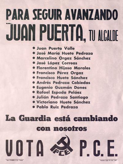 Para seguir avanzando Juan Puerta, tu alcalde [ [Material gráfico]: La Guardia está cambiando con nosotros : Vota P. C. E.