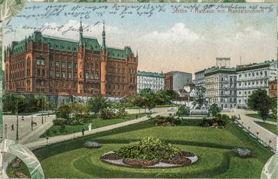 Stettin - Rathaus mit Manzelbrunnen