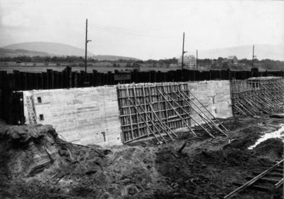 Bau der Schleuse Kleinheubach (heute Heubach)/Main