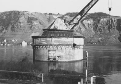 Hochwasser 1955 im Rhein bei Andernach