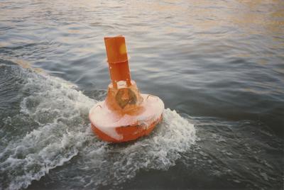 Durch Treibeis beschädigte Tonne im Rhein