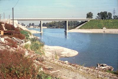 Bau der Staustufe Iffezheim/Rhein