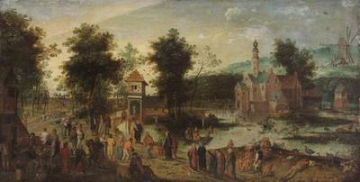 Landschaft mit Schloß und Wirtshaus