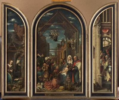 Flügelaltar (Mittelbild: Anbetung der Könige; linker Flügel: Geburt Christi; rechter Flügel: Beschneidung Christi)