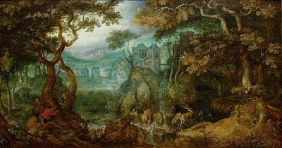 Waldlandschaft mit Jägern