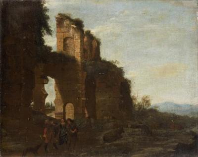 Ruine mit Räubern und einer Frau