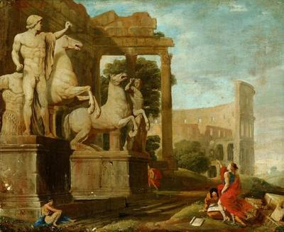 Ruinenlandschaft mit Dioskuren und Kolosseum