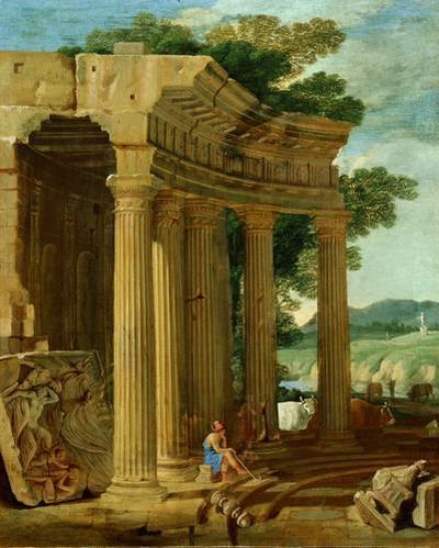 Ruinenlandschaft mit Hirten