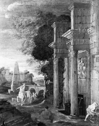 Ruinenlandschaft mit Reiter