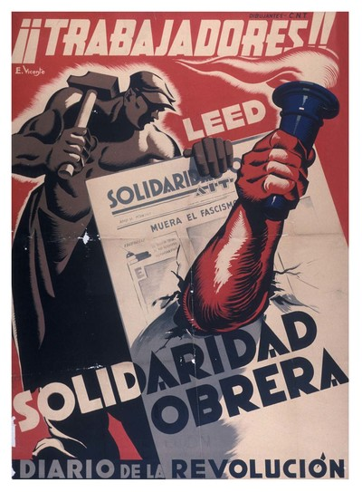 ¡¡Trabajadores!! Leed Solidaridad Obrera, diario de la revolución.