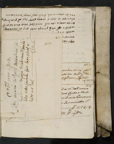 Receipt no. 450 : acknowledges reimbursement from the gastald of the Sinagoga Italiana to Zorzi Manolesso.