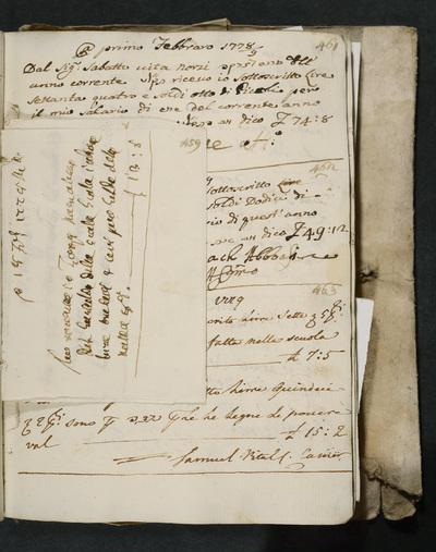 Receipt no. 459 : acknowledges reimbursement from the gastald of the Sinagoga Italiana to Zorzi Manolesso.