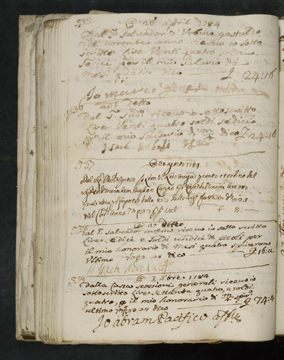 Receipts nos. 535-539 : no. 535, 27 April 1784, Marco Genese acknowledges receiving his four months salary from Salvador d'Urbino, gastald of the year ; no. 536, same date, Isach Abboasi acknowledges receiving his salary from the above ; no. 537, 20 August 1784, Leon Levi (...) ; no. 538, 27 August 1783, Isach Norzi acknowledges receiving his four months honorarium from Salvador Urbino ; no. no. 539, possibly 3 October 1784, Abram Pacifico acknowledges receiving his honorarium from the cashier Scossioni (?)