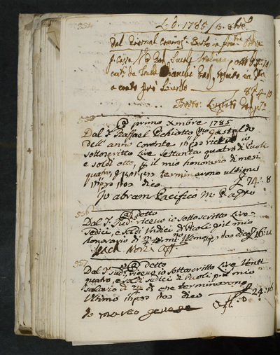 Receipts nos. 554-557 :  no. 554 , possibly 3 October 1785, Bartolo (?) ; no. 555, 1 December 1785, Abram Pacifico acknowledges receiving his four months honorarium from Raffael Pichiotto, first gastald of the year ; no. 556, same year, Isach Norzi acknowledges receiving his four months honorarium from the above ; no. 557, same date,  Marco Genese acknowledges receiving his four months salary from the above