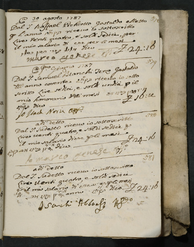 Receipts nos. 578-581 : no. 578, 30 August 1787, Marco Genese acknowledges receiving his salary from Raffael Pichiotto, gastald elected for the year ; no. 579, 1 June 1787, Isach Norzi acknowledges receiving his honorarium from Samuel Bianchi, third gastald for the year ; no. 580, Marco Genese acknowledges receiving his salary from the above ; no 581, Isach Abboasi acknowledges receiving his salary from the above