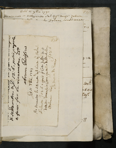 Receipt no. 636 : Moise da Zaino (?), acknowledges receiving the sum (for the brothers Manolesso ?) from Raffael Pichiotto, gastald of the scola italiana, permitted by Abram Pacifico