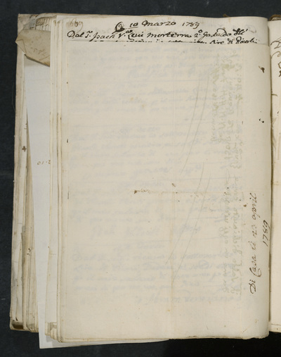 Blank page (on the side: Di Casa di 23   April 1789)